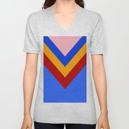 Cheer Arrows Red Yellow Blue Chevrons  Unisex V-Neck