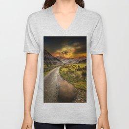 Valley Sunset Snowdonia Unisex V-Neck