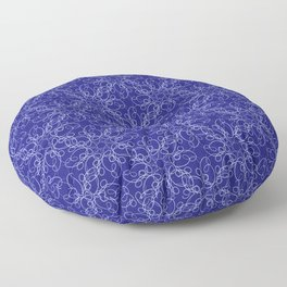 Abstract lace pattern in blue color Floor Pillow