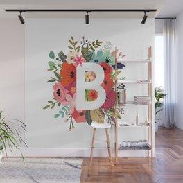 B – Monogrammed Floral Initial Wall Mural