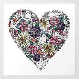 Flowers, Birds & A Heart Art Print