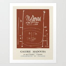 Pablo Picasso. Exhibition poster for Galerie Madoura in Cannes, 1961. Art Print