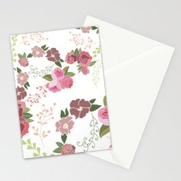 Pink Roses Pattern Stationery Cards