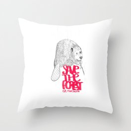save the planet, eat more beaver Throw Pillow