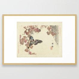 Bird and red vine, Kono Bairei, 1893 Framed Art Print