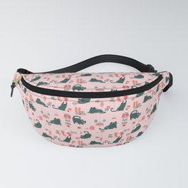 Vintage Christmas cats - rose Fanny Pack