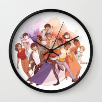 les miserables Wall Clocks featuring Les Miserables: Un Groupe Qui a Failli Devenir Historique by batcii