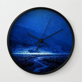 Twilight Blue Moon below the Mountains & Enchanted Valley landscape painting by Granville Redmond Wall Clock