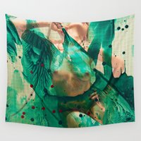 burlesque Wall Tapestries featuring Smaragd shower by Artwork-Fusions