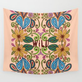 Bohemian Floral Peach version Wall Tapestry