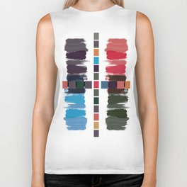 Bold brushstrokes with mosaic stripes Biker Tank
