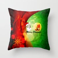 merry christmas Throw Pillows featuring Merry christmas by nicky2342