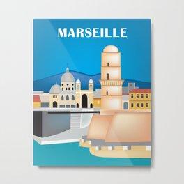 Marseille, France - Skyline Illustration by Loose Petals Metal Print