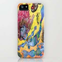 Blue-Finned Mermaids watercolor iPhone Case