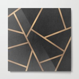 Dark Grey and Gold Textured Fragments - Geometric Design Metal Print