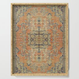 Vintage Woven Coral and Blue Kilim Serving Tray