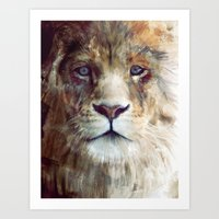 watercolour Art Prints featuring Lion // Majesty by Amy Hamilton