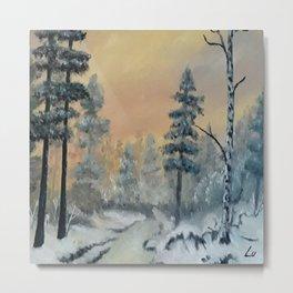 Winter Woods, Luna Smith, Scottish art, oil painting, Luart Gallery Metal Print