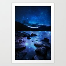 Magical Mountain Lake Dark Blue Art Print