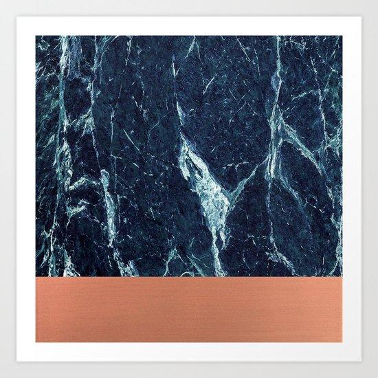 Blue Marble & Copper Art Print
