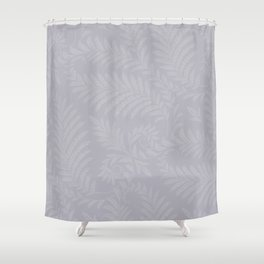Pantone Lilac Gray Fancy Leaves Scroll Damask Pattern Shower Curtain