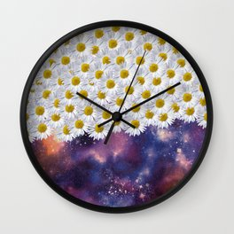 Daisys in Space Wall Clock