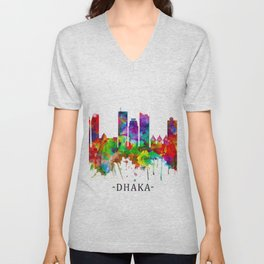 Dhaka Bangladesh Skyline Unisex V-Neck