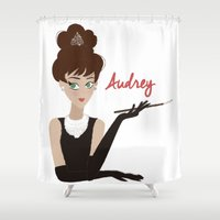 audrey Shower Curtains featuring Audrey by carotoki art and love