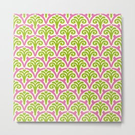 Floral Scallop Pattern Chartreuse and Pink Metal Print