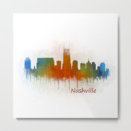 nashville city skyline Tennessee watercolor v3 Metal Print
