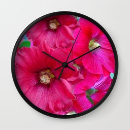 FUCHSIA PINK GARDEN HOLLYHOCKS Wall Clock