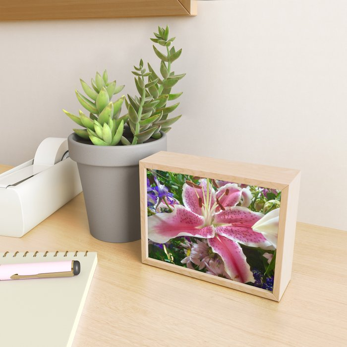 Lovely pink lily Framed Mini Art Print