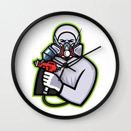 Industrial Spray Painter Mascot Wall Clock