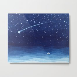 Falling star, shooting star, sailboat ocean waves blue sea Metal Print