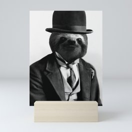 Sloth with Bowl Hat Mini Art Print