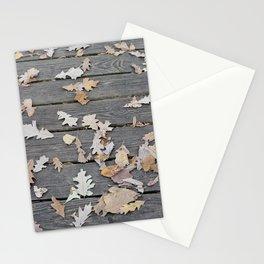 Brown Oak Leaves on Boardwalk Stationery Cards