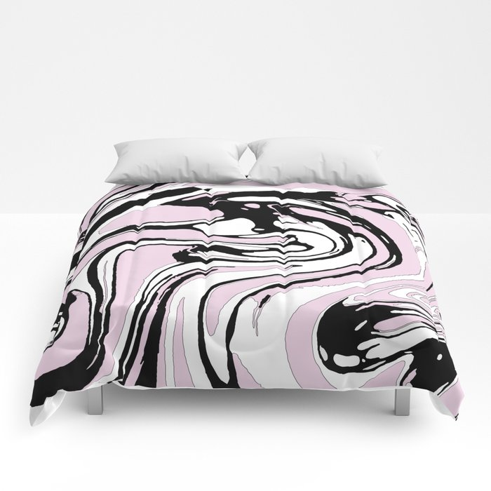black white and pink graphic paint swirl pattern effect comforters