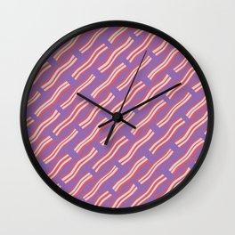 Frying Bacon Over Purple Wall Clock