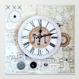 Technical Sketches Clock Canvas Print