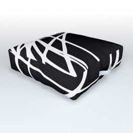Black and White Circles and Swirls Modern Abstract Outdoor Floor Cushion