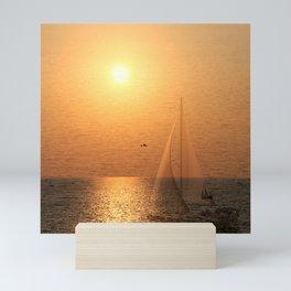Sailing yacht on sunset sea Mini Art Print