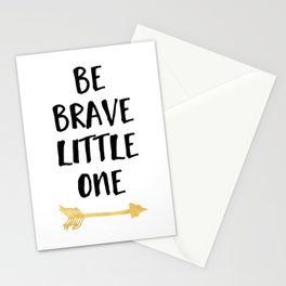 BE BRAVE LITTLE ONE Kids Typography Quote Stationery Cards