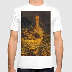 Still-life with nuts and wine Mens Fitted Tee White MEDIUM