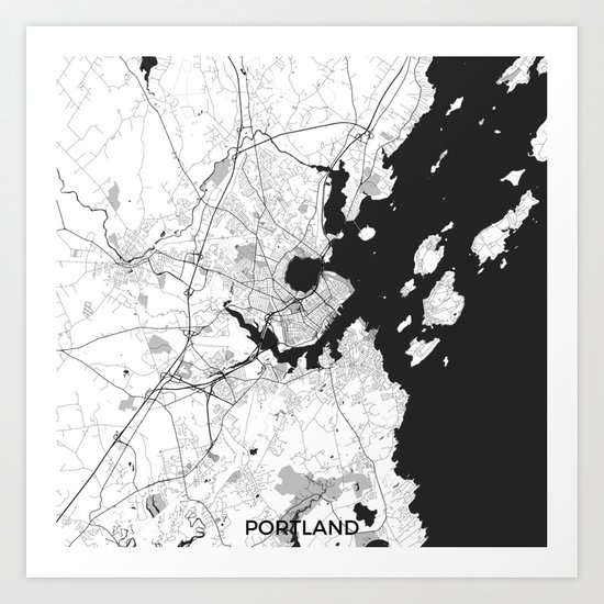 Portland Maine Map Gray Art Print