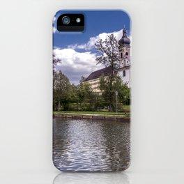 DE - Baden-Wurttemberg : Groggensee with view to St. Blasius Ehingen iPhone Case