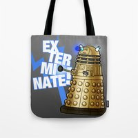 dalek Tote Bags featuring Dalek by StudioMarimo