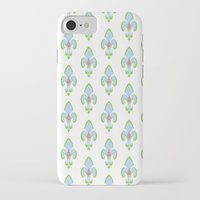 fleur de lis iPhone & iPod Cases featuring Fleur de Lis Blue by Drape Studio