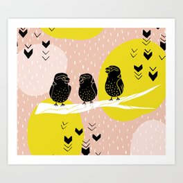 The Finch Clique - Peach Art Print