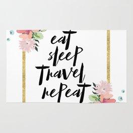eat sleep travel repeat Rug