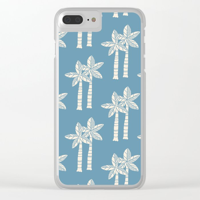 Palm Tree Pattern Blue 22 Clear iPhone Case